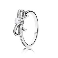 PANDORA Delicate Sentiments Ring, White Pearl & Clear Cubic Zirconia