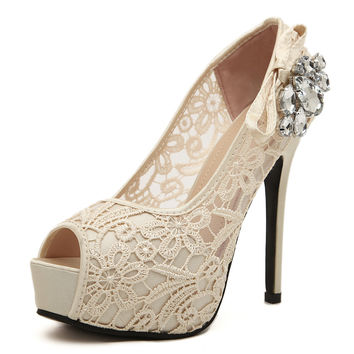 Women Wedding Shoes Sexy Lace Peep Toe High Heels Platform Pumps Summer Dress Pumps Womens Sweet Bow Bridal Shoes