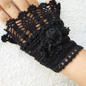Black Night Gloves-Rainbow Beaded Cuff - Turkish Lace - Colorful Beaded Crochet Bracelet and Flower Patterns - Cotton Yarn Bracelet -