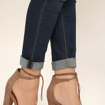 Angela Taupe Suede Lace-Up Heels