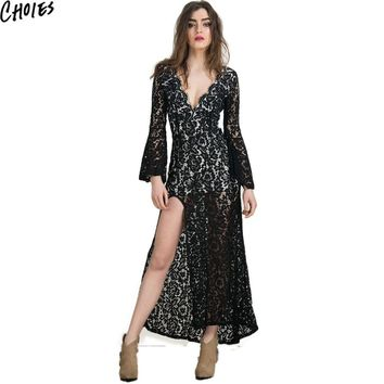 Women White And Black Vintage Backless Lined Side Split Lace Maxi Dress  New Summer Plunge V Neck Sexy Bodycon Club Dresses