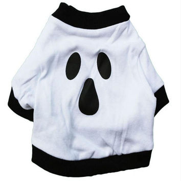 Halloween Cotton Dog Clothes Cartoon T-shirt With Print Patterned  Leisure Style Breathable  Pet Clothing  For Bentley Teddy