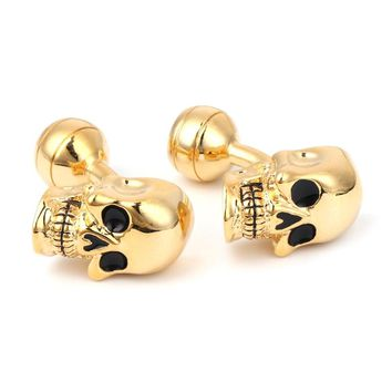 Men's Punk Gothic Skull Head Skeleton Shirt Cufflinks Cuff Links Jewelry
