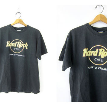 Vintage Hard Rock Cafe Tshirt Puerto Vallarta novelty shirt Hipster faded black Worn In Cotton tee shirt Baggy Fit Coed Size Large