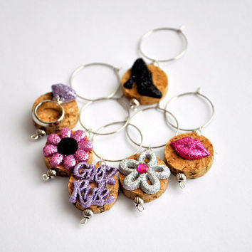 Girls Rule Wine Cork Wine Glass Charms   Set of 6 by TipsyGLOWs
