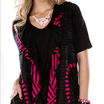 Aster by Firmiana Sleeveless Vest Black and Fuchsia Stripe with Front Pockets