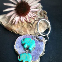 African Lucky Elephant Turquoise Key Ring ,Chakra Key Chain,Bohochic,Elephant Totem,Chakra,Fun,Elephant Gifts,Ready to Ship,Direct Checkout,