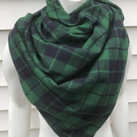 Women's-Handmade-Green-Flannel-Plaid-Chunky-Winter-Blanket-Shawl-Wrap-Scarf-Accessories-Gifts for Her