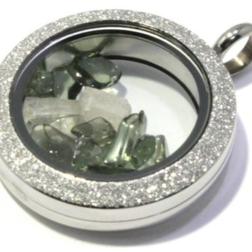 Tumbled Phenacite Moldavite Floating Locket Stainless Steel Sparkly Pendant