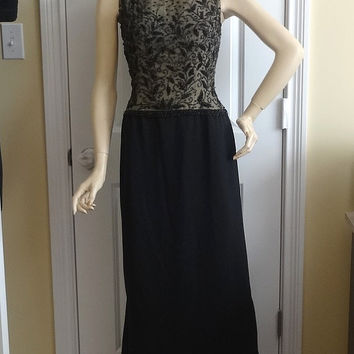 1940s Vintage Beaded Dress by Town Resort Shops, Knoxville, Size 14, Made in Hong Kong, Evening Dress, Vintage Clothing, Vintage Black Dress