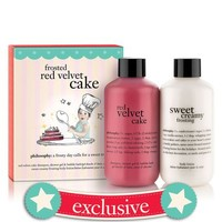 frosted red velvet cake | red velvet cake shampoo, shower gel & bubble bath 6 oz. and sweet creamy frosting body lotion 6 oz. | philosophy bath & shower gels