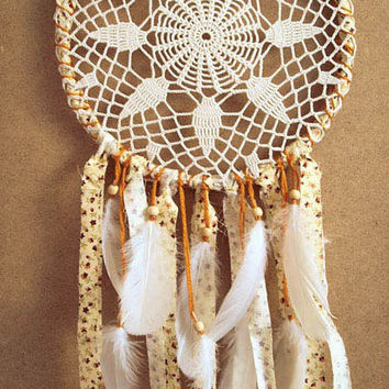 Dream Catcher - Golden Star - With White Crochet Web, Floral Patterned Yellow Textiles and White Feathers - Home Decor, Nursery Mobile
