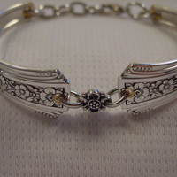 A Fortune Pattern Spoon Bracelet With Cute Charm Antique Spoon and Fork Jewelry b65