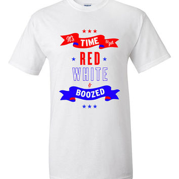 4th of July Funny Patriotic T-shirt Tshirt Tee Shirt Get Red White and Boozed 4th of July Shirt Women Men Outfit. Independence Day 4J5