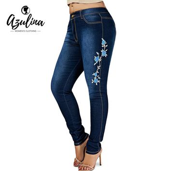 AZULINA Plus Size Floral Embroidered Skinny Jeans Women Pant Skinny Cotton High Waist Denim Ninth Pencil Pants Ladies Clothes