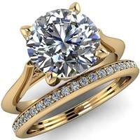 Gaia Round Moissanite 4 Prong Cathedral Engagement Ring