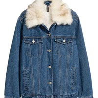 Pile-lined denim jacket - Dark denim blue - Ladies | H&M GB