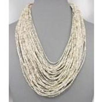 Cascading Bead Seed Statement Necklace
