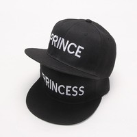 2017 new PRINCE PRINCESS Embroidery men women Snapback Hat Couple Baseball Cap Gifts For friendFashion Hip-hop Caps