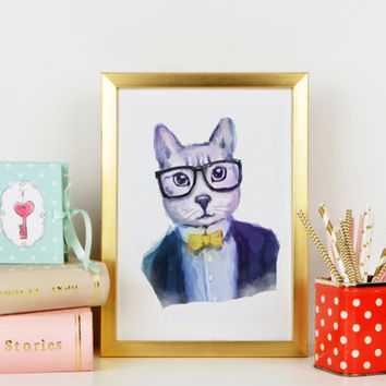 CAT HIPSTER Watercolor Art Fashion Print Watercolor Animal Hpister Printable Instant Download High Fashion Poster Waterclor Cat Poster Art