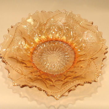 Dugan Marigold Carnival Glass Bowl, Fish Scale and Beads, Small Dish, Peach Lustre, Ruffled Rim