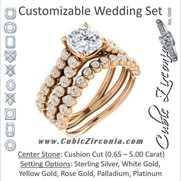 CZ Wedding Set, featuring The Roxana engagement ring (Customizable Cushion Cut Design with Beaded-Bezel Round Accents on Wide Split Band)