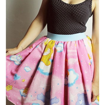 CARE BEARS Pink SKIRT Handmade Vintage 80s Bow
