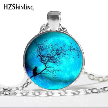 HZ--A107 Blue Moon and  necklace, Galaxy moon Pendant, Universe Hipster pendant, Galaxy charm solar system space HZ1