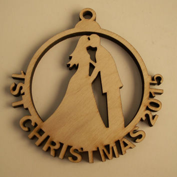 Christmas Ornament, First Christmas Wedding Couple, Laser Cutouts,Unfinished Wood,Holiday Home Decor,Christmas Ornaments,Wood Shapes
