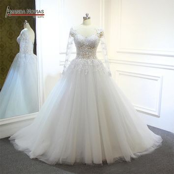 robe de mariage Long Sleeve Lace Appliqued Sheer Tulle See Through Wedding Dress
