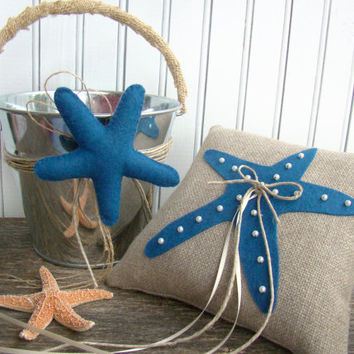 Ring Bearer Pillow & Flower Girl Pail Set, Beach Starfish Wedding, Cobalt Navy Royal Blue, Destination Wedding, Beach Ceremony