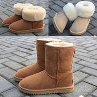New HOT  Classic Tall Style UG Men and Women Winter Warm Brand  Leather Snow Boots  [8789879559]