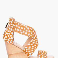 Diane Von Furstenberg Beige Calf-hair Opal Wedge Sandals for women | SSENSE