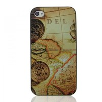 Generic Vintage Nautical Chart Embossment Case For iPhone 4/4S Color Yellow