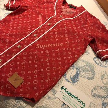One-nice™ SUPREME x LOUIS VUITTON Monogram Red Denim Baseball Jersey Shirt XS - *IN HAND*