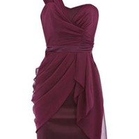 Purple Cocktail Dress - Bqueen Draped One Shoulder Dress | UsTrendy