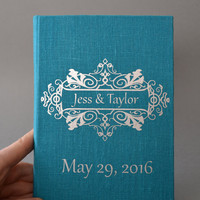 Wedding Guest Book / Wedding Book / Linen Guest Book Size 6.1 inches X 8.3 inches