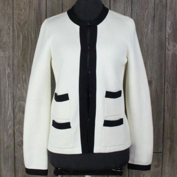 New Talbots Cardigan Sweater S size Ivory Black Career Womens Nice Quality $119