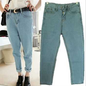 Loose Denim BF Style Skinny High Waist Jeans