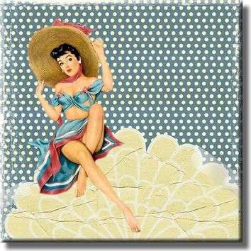 Vintage Retro Girl Beach Shell Bathroom Picture on Stretched Canavs, Wall Art Décor, Ready to Hang