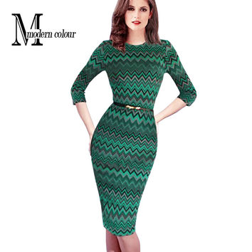 Plus Size Women Bodycon Dress New Arrivals Fashion 2016 European Style Dresses Casual Green Striped Knee Length Dresses Spring