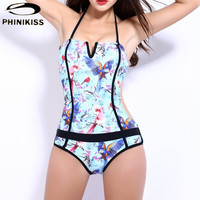 Parrot Bird Printed Women One Piece Swimsuit Patchwork Flamingo Sports Monokini Swimwear High Quality Bathing Suit Bodysuit