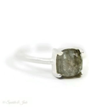 Sterling Silver 7mm Cushion Cut Faceted Labradorite Ring with Satin Finish