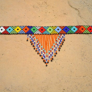 Orange tribal necklace,beaded choker necklace,African necklace,African Tribal jewellery,African accessories,Masaai necklace,ethnic choker