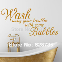 Wash Away Your Troubles Waterproof Removable Vinyl Wall Art Stickers
