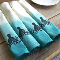 Beach Cottage Cloth Napkins, Octopus, Blue Aqua, Dinner Napkins, Beach House, Fabric, Dinner set 4