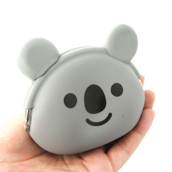 Adorable Koala Bear Shaped Mimi Pochi Animal Friends Silicone Clasp Coin Purse Pouch