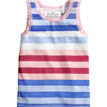 H&M - Lace-trimmed Jersey Tank Top -