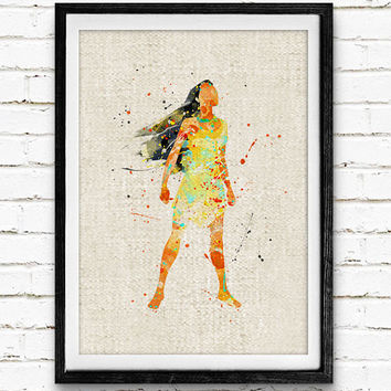 Pocahontas Watercolor Print, Disney Baby Boy Nursery Decor, Wall Art, Home Decor, Gift Idea, Not Framed, Buy 2 Get 1 Free!