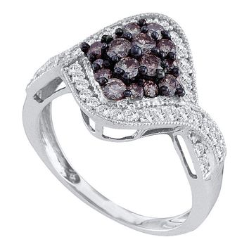 10kt White Gold Women's Round Cognac-brown Color Enhanced Diamond Twist Cluster Ring 1.00 Cttw - FREE Shipping (USA/CAN)
